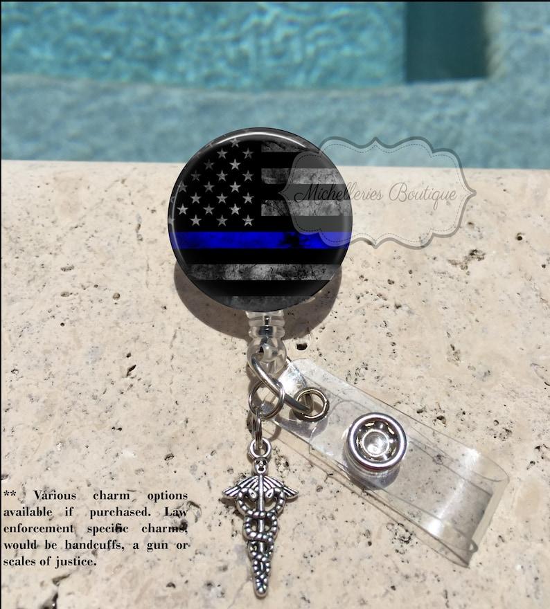 c5cb8d295fd3 Thin Blue Line Badge Reel Police Wife Badge Reel Blue Lives