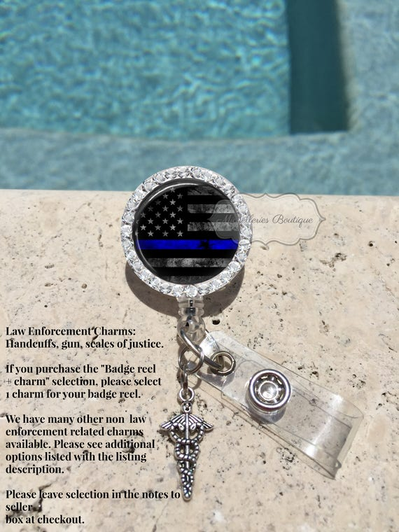Retractable Bling Badge Reel Name ID Pull Clip Holder Police Thin Blue Line Gift