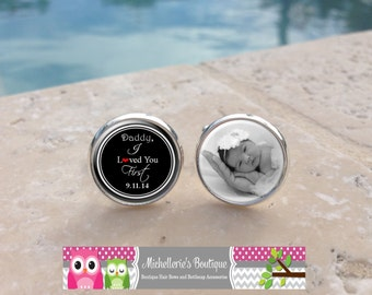 Personalized Daddy I loved you first Custom photo Cuff Links Custom Wedding Party Gifts, Father of the Bride,Mens, Cufflinks