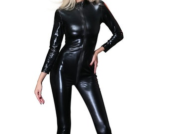 Leather Look  Pvc Wet Look Clubbing Party RED Black Crotchless Bondage Bodysuit