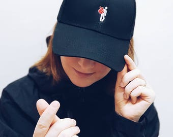 Korean Finger Heart Embroidered Dad Cap Dad hat Baseball Cap Baseball Hat Dad  cap Tumblr Hat Embroider Hat Cap Hat Kpop K-DRAMA LOVE 202551adfb40