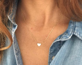 Simple Solid Gold Necklace,14K Gold Tiny Heart Necklace,Small Dainty Heart Necklace,Minimal Jewelry,Petite Necklace