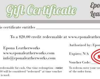 Gift Certificate For Epona Leatherworks - 20.00 - www.eponaleatherworks.com - Equestrian - Horse - Dog - Cat - Jewellery