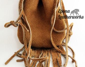 Fringe Suede Pouch Purse - Suede Purse - Hand Stitched Purse - Suede Pouch - Epona Leatherworks