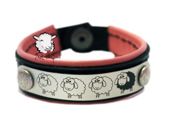 """Sheep Bracelet Pink Lined - Black Leather - Pink Leather - SIZE 7.5"""" - Just For Ewe"""