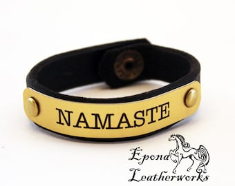 "NAMASTE Bracelet - Brown Harness Leather - Size 6"" - Leather Bracelet - Epona Leatherworks"