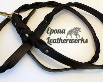 """Leather Horse Lead Shank - Leather Dog Leash - Brown Harness Leather - Size 70"""" - Epona Leatherworks"""