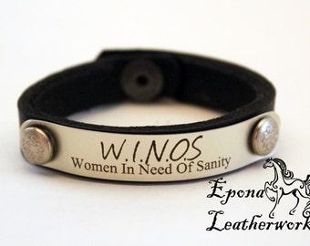 "WINO - Wine Quote Bracelet- Wine Lovers Bracelet - Size 6.5""-Vineyard Collection- Leather Bracelet - Custom Bracelet -"