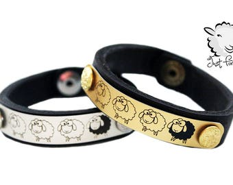 Sheep Bracelet - Leather Bracelet - Custom Sized Bracelet - Just For Ewe