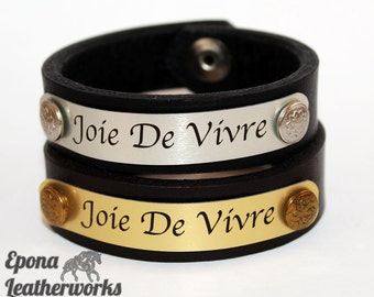 Joie De Vivre Bracelet - Leather Bracelet - Leather Bangle - Leather Jewelry - Epona Leatherworks
