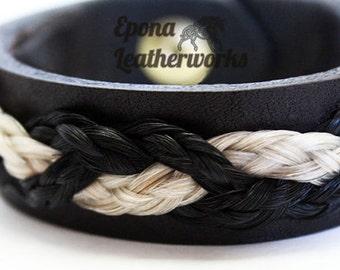Triple Horsehair Bracelet - CUSTOM Bracelet - Briaded Bracelet - Your Own Horsehair Or Ours -  Epona Leatherworks