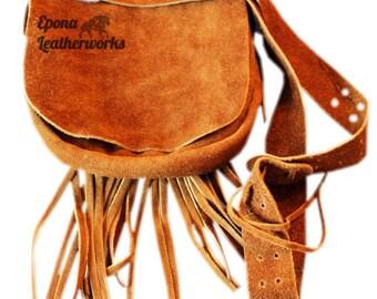 Suede Fringe Purse - Suede Purse - Hand Stitched Purse - Shoulder Bag - Epona Leatherworks