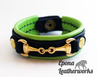 "Lime Equestrian Bracelet - Black Leather - Lime Lining - Brass Bit - Size 7"" - Epona Leatherworks"