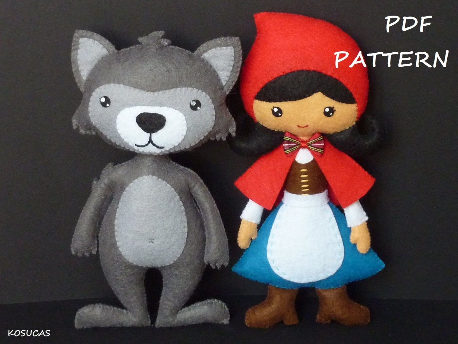 PDF sewing patter to make a felt Little Red Riding Hood and a  07fd20c2cb4