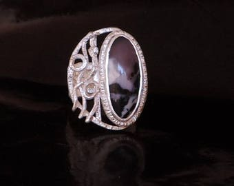 Parvarti. Lovely silver ring with tiffany stone