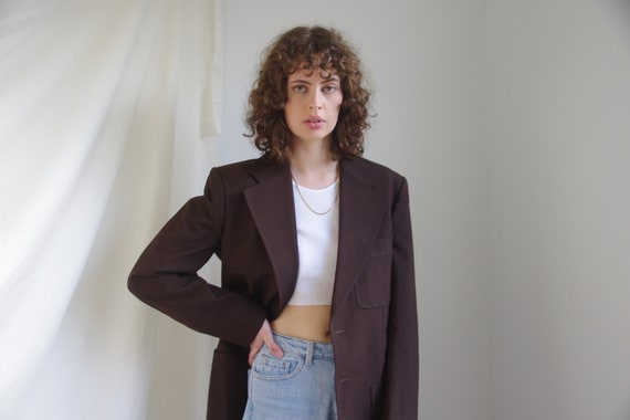 Mens dark brown structured blazer
