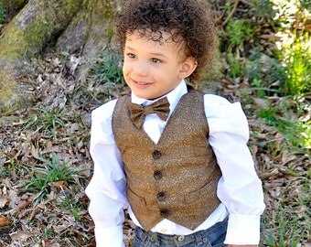 31f323d1b2cd RING BEARER Tweed Herringbone LOOK Vest Bow Tie Outfit Infant Toddler Child  Sizes thru Youth 10