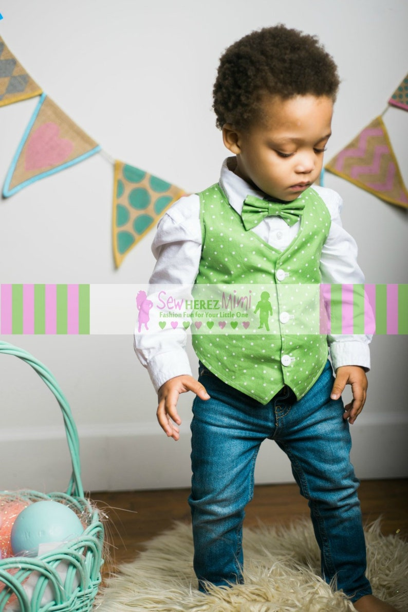 Lime Green White Dot Boys Custom Vest Pre-Tied Bow Tie 6-9 mo 12-18 mo 2T 3T 4T 5T 6 7 8 9 10