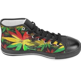 Bob Marley   Rasta shoes   Black   Canvas Hi Top Shoes   Bob Marley tribute    Rasta   rasta clothing   Cannabis   high tops ea3d2047050