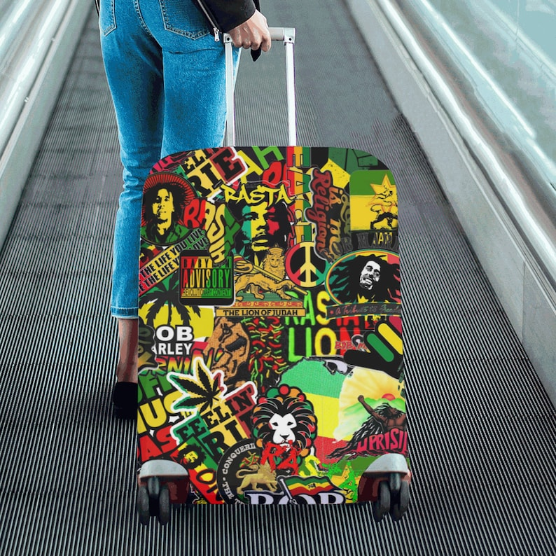Personalized Travel Luggage Protector Washable Suitcase Cover Abstract Painting Lady