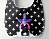 Baby Binky Bib in Black and White Plus Fabric with Chenille Back