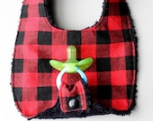 Baby Boy Binky Bib in Red and Black Checkered Fabric by Penny Rose with Black Chenille Backing