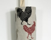 Grocery Bag Holder Made with Rooster Farmhouse Home Decor Fabric