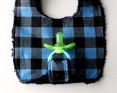 Baby Boy Binky Bib in Blue and Black Checkered Fabric by Penny Rose with Black Chenille Backing