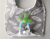 Baby Binky Bib in Riley Blake Gray Feathers Fabric with Chenille Back