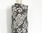 Grocery Bag Holder Made with Gray Damask Home Decor Fabric by Riley Blake
