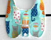 Baby Girl Binky Bib in Riley Blake Smarty Cats Fabric with Chenille Back