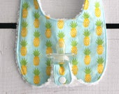 Baby Girl Binky Bib in Riley Blake Market Fresh Pineapple Fabric with Chenille Backing