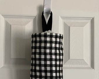 Grocery Bag Holder In Buffalo Plaid Home Decor Fabric