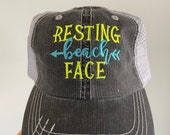 Resting Beach Face Embroidered Hat with Choice of Thread Colors