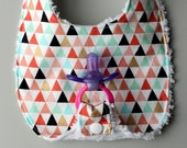 Baby Girl Binky Bib in Triangle Fabric with Chenille Back