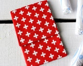 Tampon Holder, Pad/Pantiliner Case For Your Purse in Robert Kaufman Red Plus Fabric and Riley Blake Gray Liner
