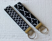 Key Fob Wristlet with choice of Black and White Quatrefoil Fabric