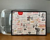 Extra Large Hot Pad/Potholder/Trivet in Baking Words Fabric