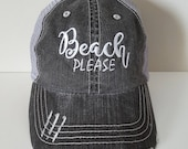 Beach Please Embroidered ...