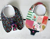 Baby Girl Binky Bib in Riley Blake On Trend Fabric with Chenille Back