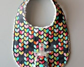 Baby Girl Binky Bib in Michael Miller Love Bug Fabric with Chenille Back