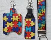 Autism Puzzle Keychain, Hand Sanitizer Holder, or Lip Balm Holder
