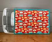 Extra Large Hot Pad/Potholder/Trivet in Vintage Camper Fabric