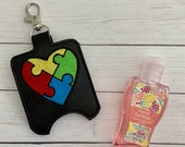 Autism Puzzle Heart Embroidered Hand Sanitizer Holder