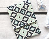 Tampon Holder, Pad/Pantiliner Case For Your Purse in Navy and Aqua Woodland Spring Geometric Fabric by Riley Blake