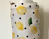 Grocery Bag Holder In Lemon Home Decor Fabric