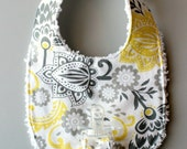 Baby Girl Binky Bib in Riley Blake Evening Blooms Fabric with Chenille Back