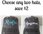 2 Pc Embroidered Hats...
