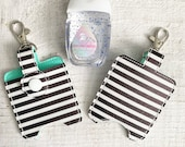 Black and White Stripe Hand Sanitizer Holder with Choice of Liner Color
