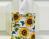 Grocery Bag Holder In Sunflower Home Decor Fabric